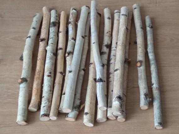 Set of 15 birch natural twigs for home decoration and needlework 10""