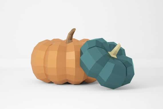 Pumpkin Low Poly PDF Template
