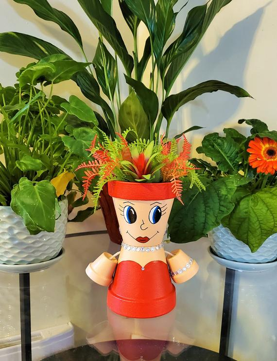 Glamour Girl Clay Pot People 4 Inch Flower Pot