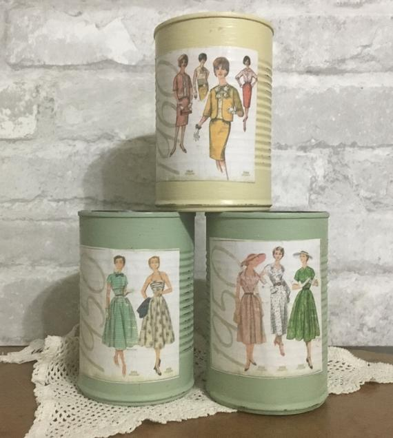 Upcycled Tin Can Storage Vintage Sewing Room