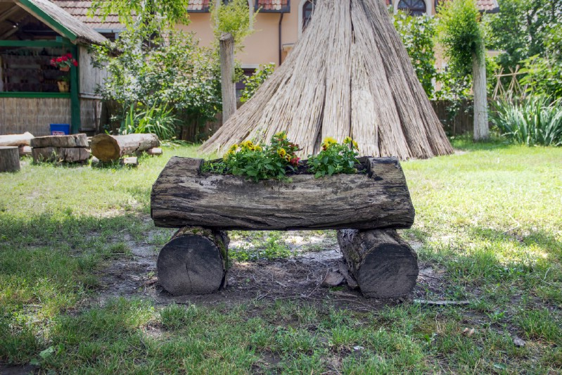 Elevated Rustic Log Planter