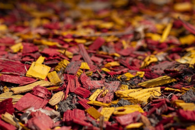 Colorful wooden chips mulch.