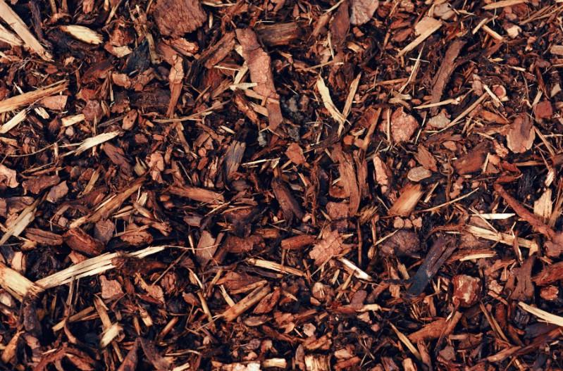 Shredded bark mulch.
