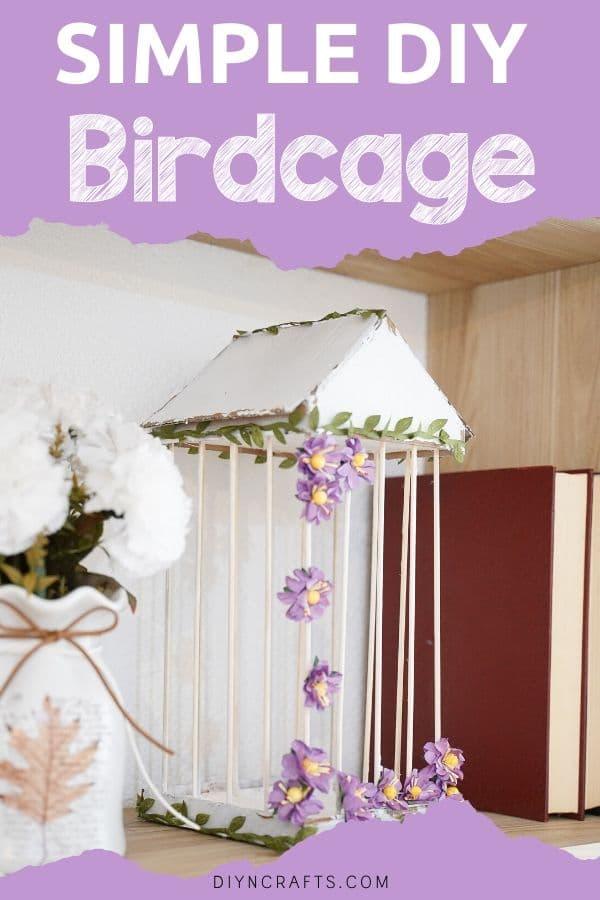 DIY birdcage on bookshelf