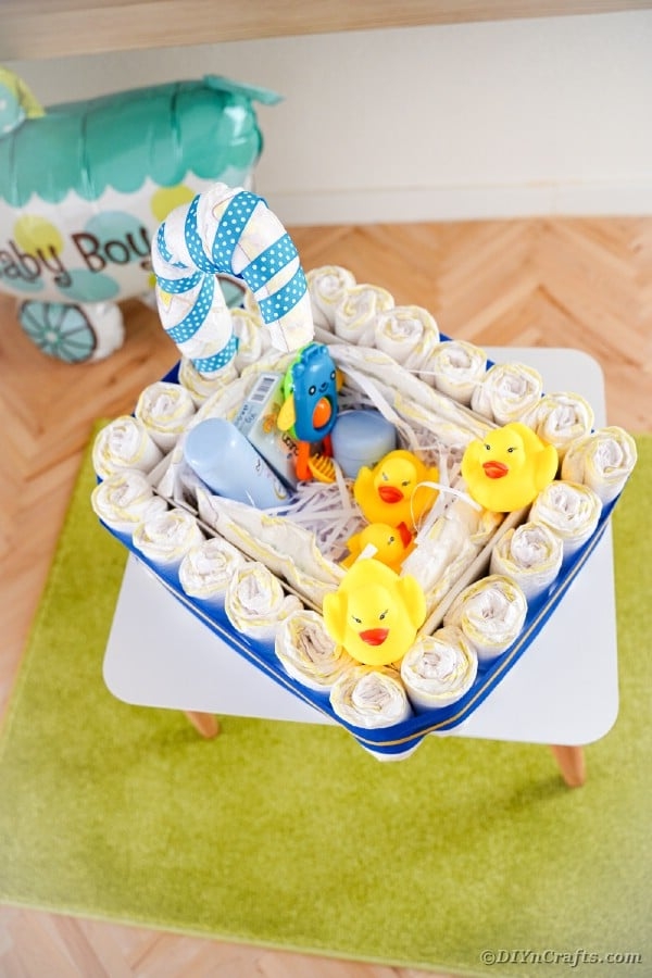 Diaper cake on an end table