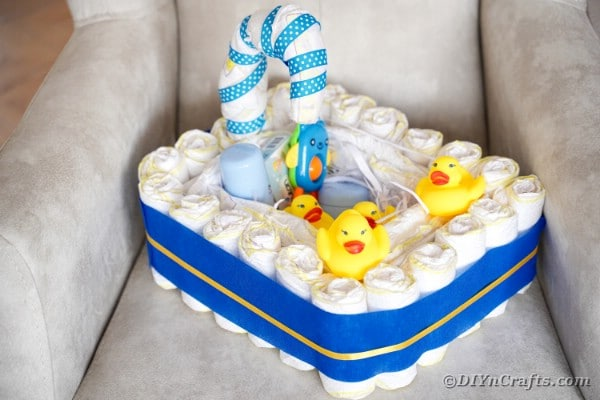 Diaper cake on a chair