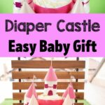 Diaper cake castle collage
