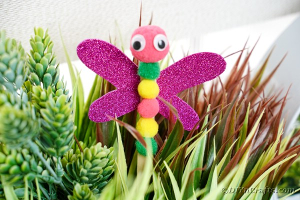 Dragonfly craft sticking in a plant