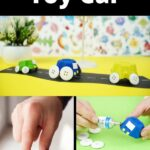 Egg carton toy cars collage