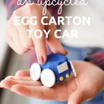 Woman holding egg carton car