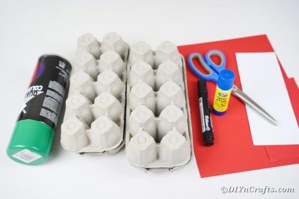 Egg carton dragon supplies