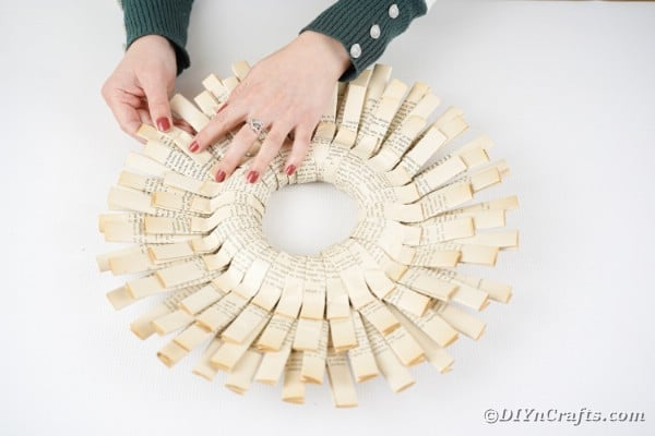 Gluing paper into wreath