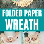 Folded paper wreath collage