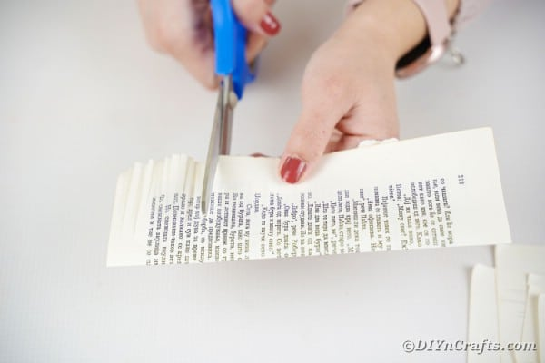 Cutting into book page