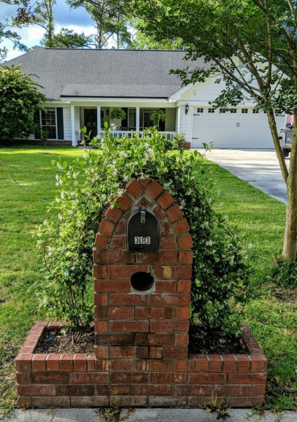 Brick mailbox with jasmine