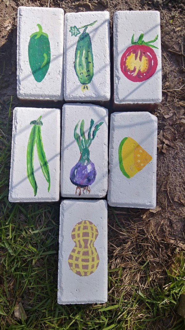 Painted garden marker bricks