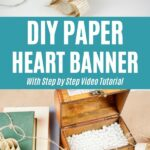 Paper heart banner collage