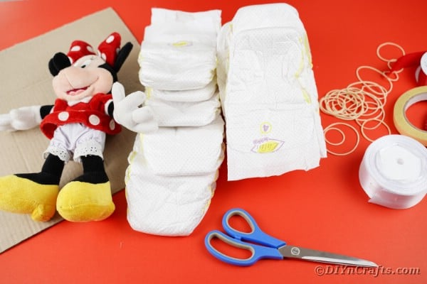 Supplies for Minnie Mouse diaper wreath