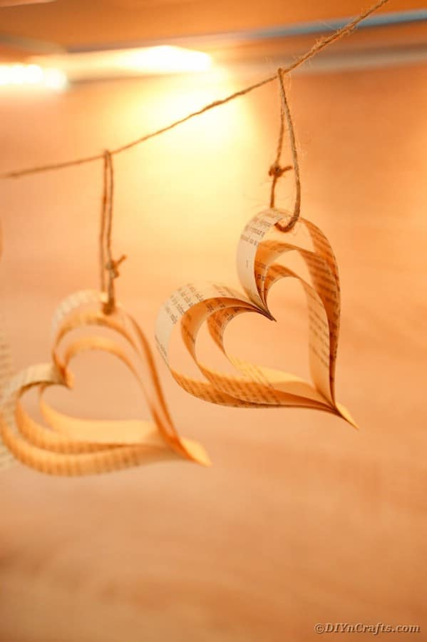 Heart banner against blonde wood background