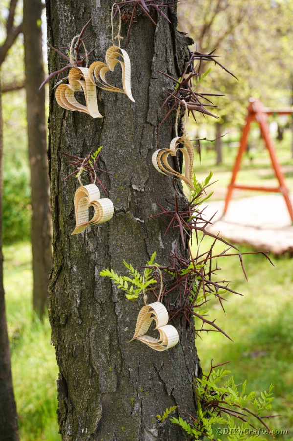 Heart banner hanging on a tree