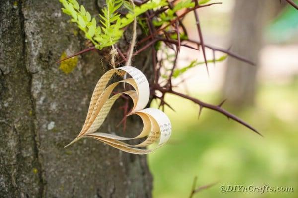 Single paper heart on a tree branch