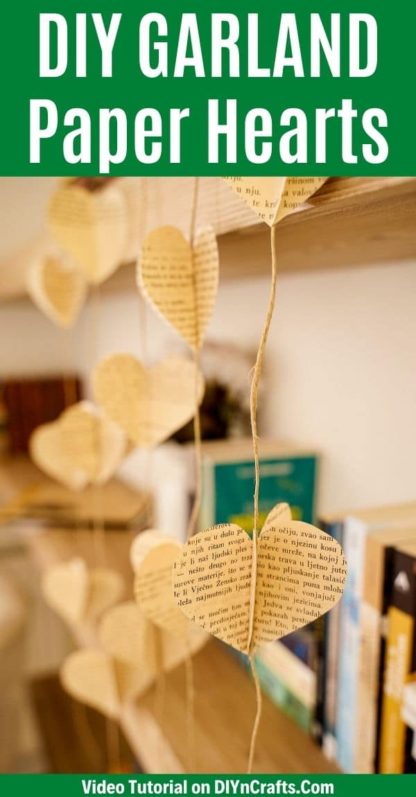Heart garland hanging by bookshelf