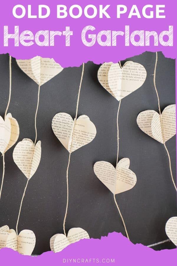 Paper heart garland against chalkboard