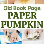 Old book page paper pumpkin collage