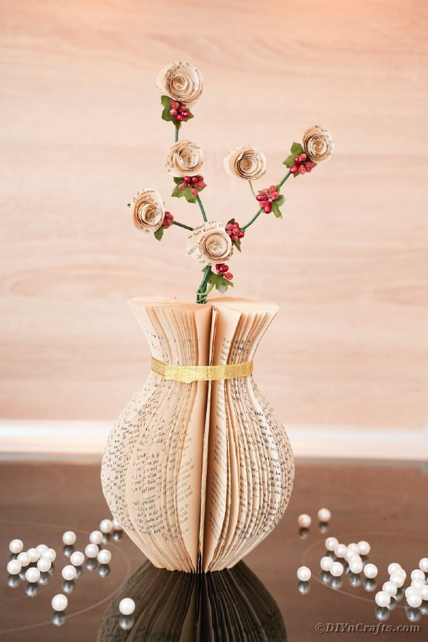 Paper vase on table
