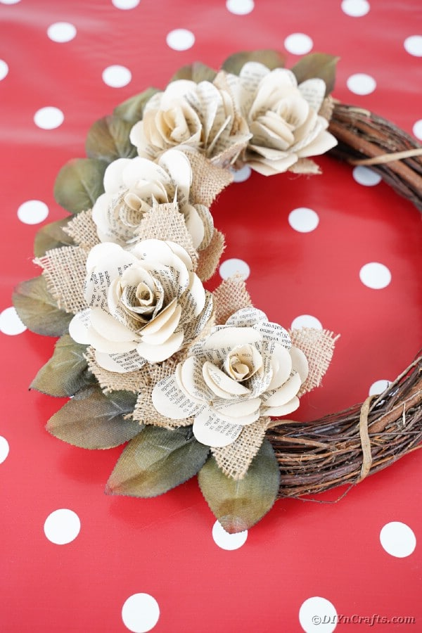 Rose wreath on red polka dot table