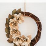 Book page wreath on white background