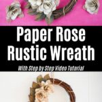 Old book page rose wreath