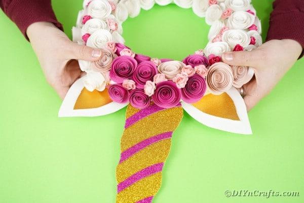 Horn glued on unicorn wreath