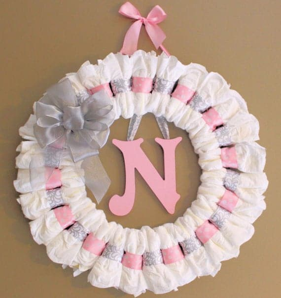 Large Custom Pink and Grey Diaper Wreath with Painted Wooden Wall Letter and Ribbon Baby Shower Gift Nursery Wall Decor