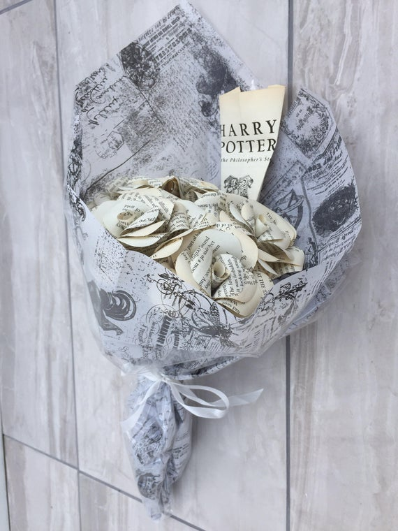 Recycled Harry Potter Book Page Paper Roses
