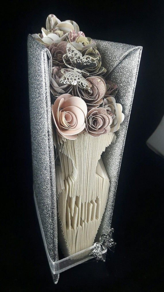 "hand made ""mum "" vase and flowers book fold origami nan gran"