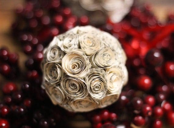 Book Page Paper Rose Ball