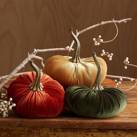 Velvet Pumpkins set of 3 Large
