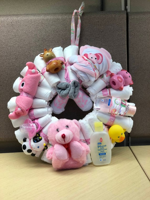 Diaper cake wreath, baby girl wreath, baby shower wreath