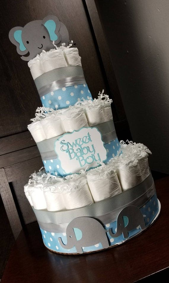 Elephant Diaper Cake for Baby Boy