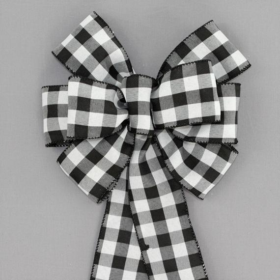Black White Buffalo Plaid Bow