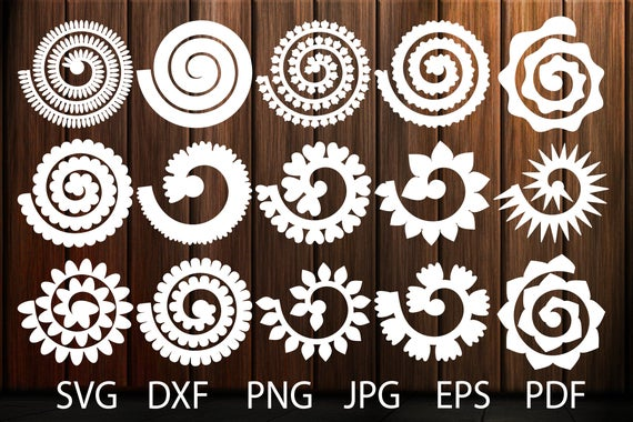 Rolled Flower Svg Flowers Template Rolled Paper Flowers Svg | Etsy