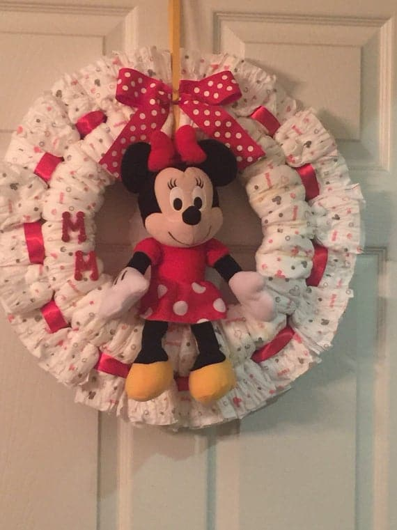 Minnie Mouse Diaper Wreath
