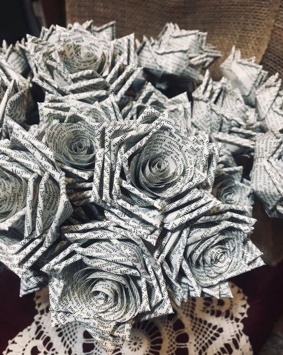 Book Page Roses ~ Paper Flowers