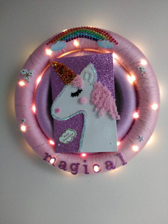 Unicorn wreath with lights- kids room decor - front door wreath - home decor