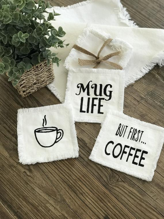 Set of 4 - Gather Coffee Lover Collection, Coasters, Cottage Style Design, Mug Rugs, Hostess Gifts, Coasters