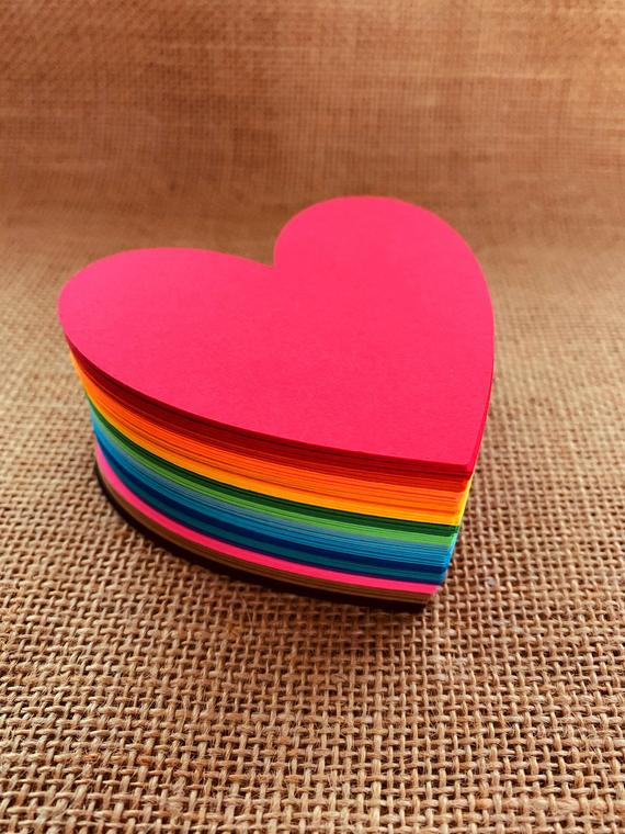Paper Heart Cut Outs - Rainbow Colors