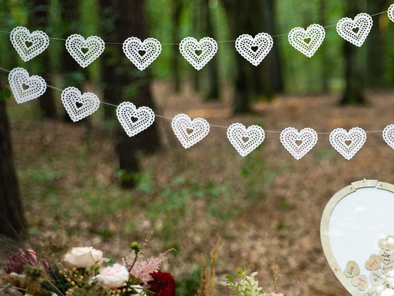 White Paper Heart Garland