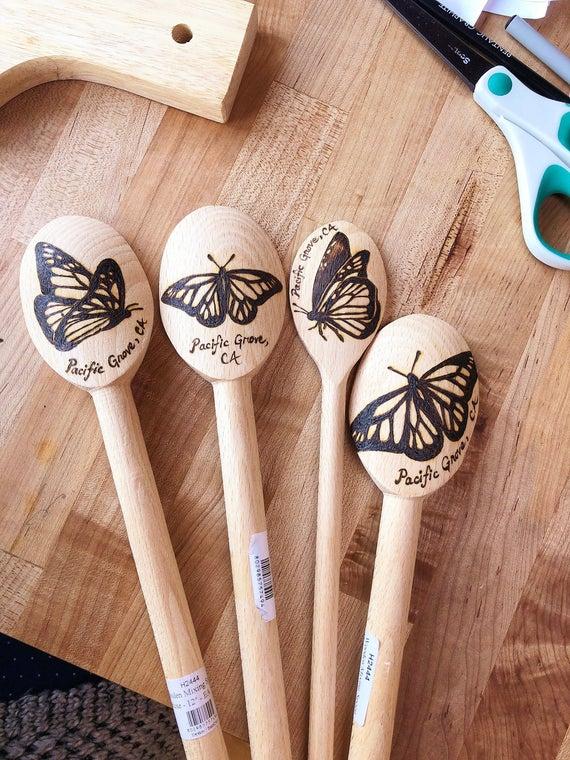 Monarch Butterfly 12-inch French Beech Wood Spoon Custom