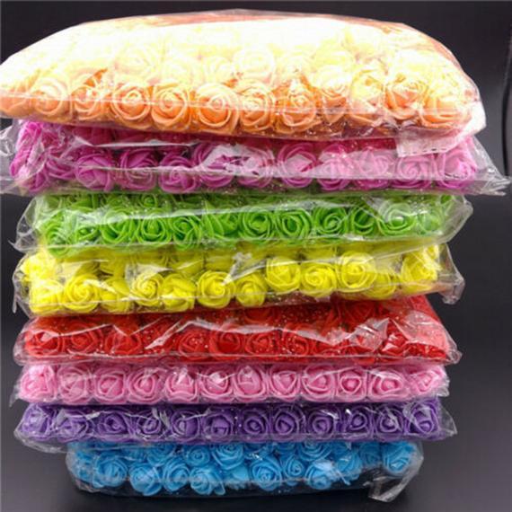 144pcs Artificial Flowers Mini Foam Roses with stem Wedding Bouquet Decor 20 colors